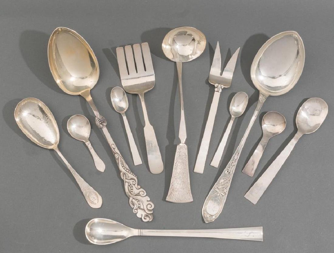 (12) Art & Crafts - Modernist Sterling Flatware Pieces