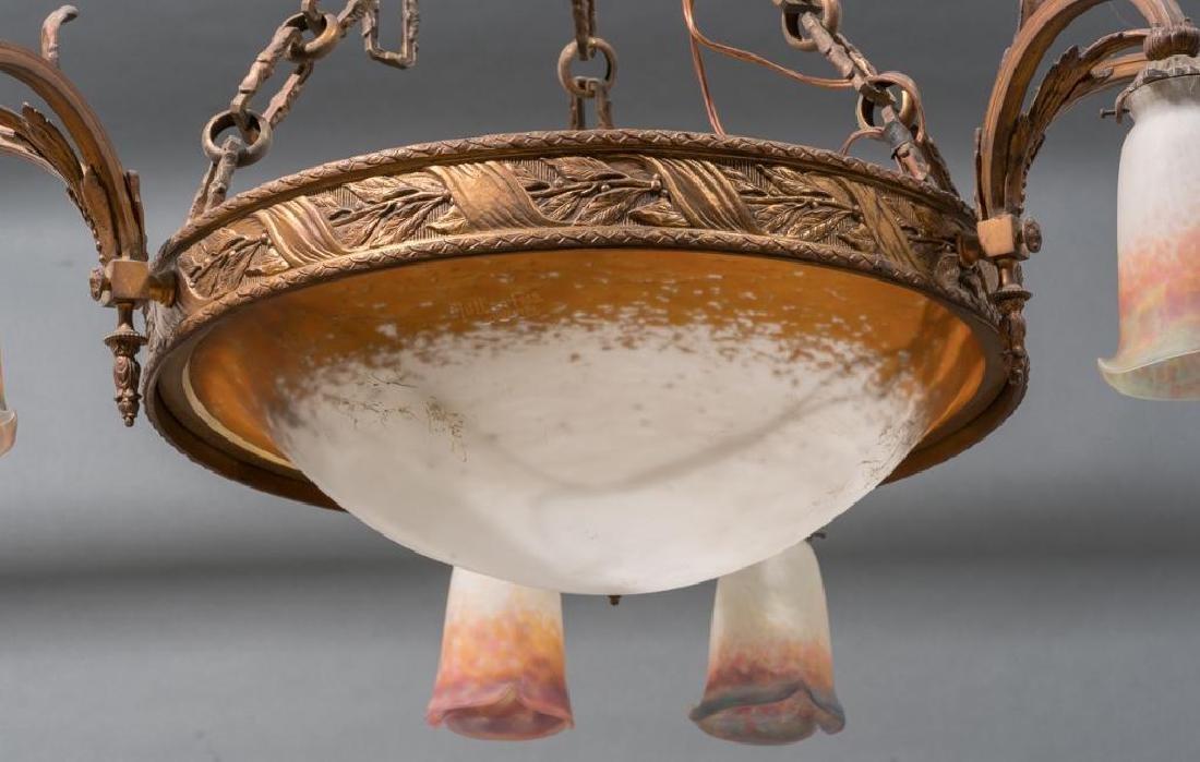 French Art Glass Muller Freres Chandelier - 3