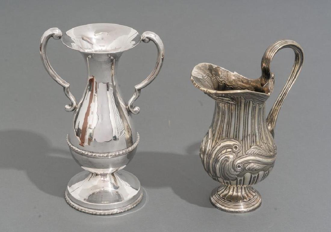 Mexican Sterling Silver Water Pitcher and Vase