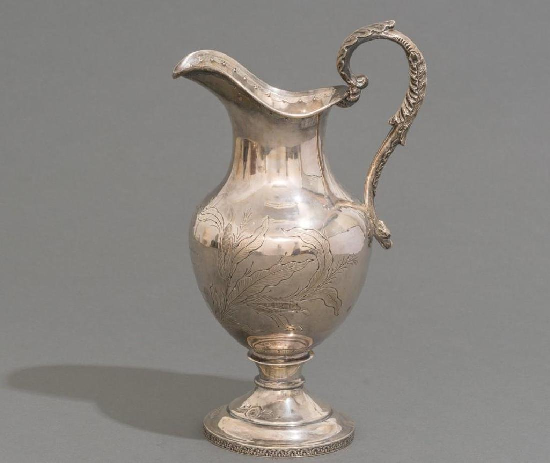 A Large Coin Silver Water Pitcher ca 1860