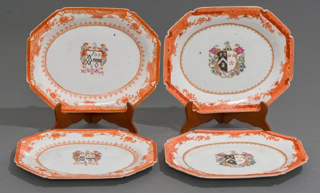 (4) Chinese Export Armorial Porcelain Platters