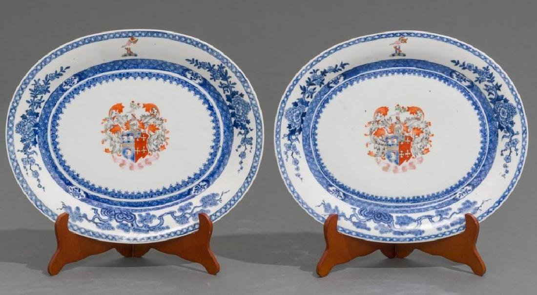 Pair of Chinese Export Armorial Porcelain Platters
