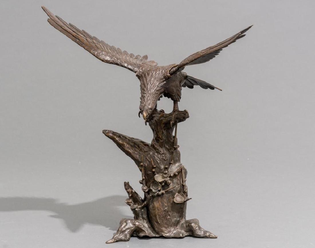 Japanese Bronze Eagle Sculpture Signed