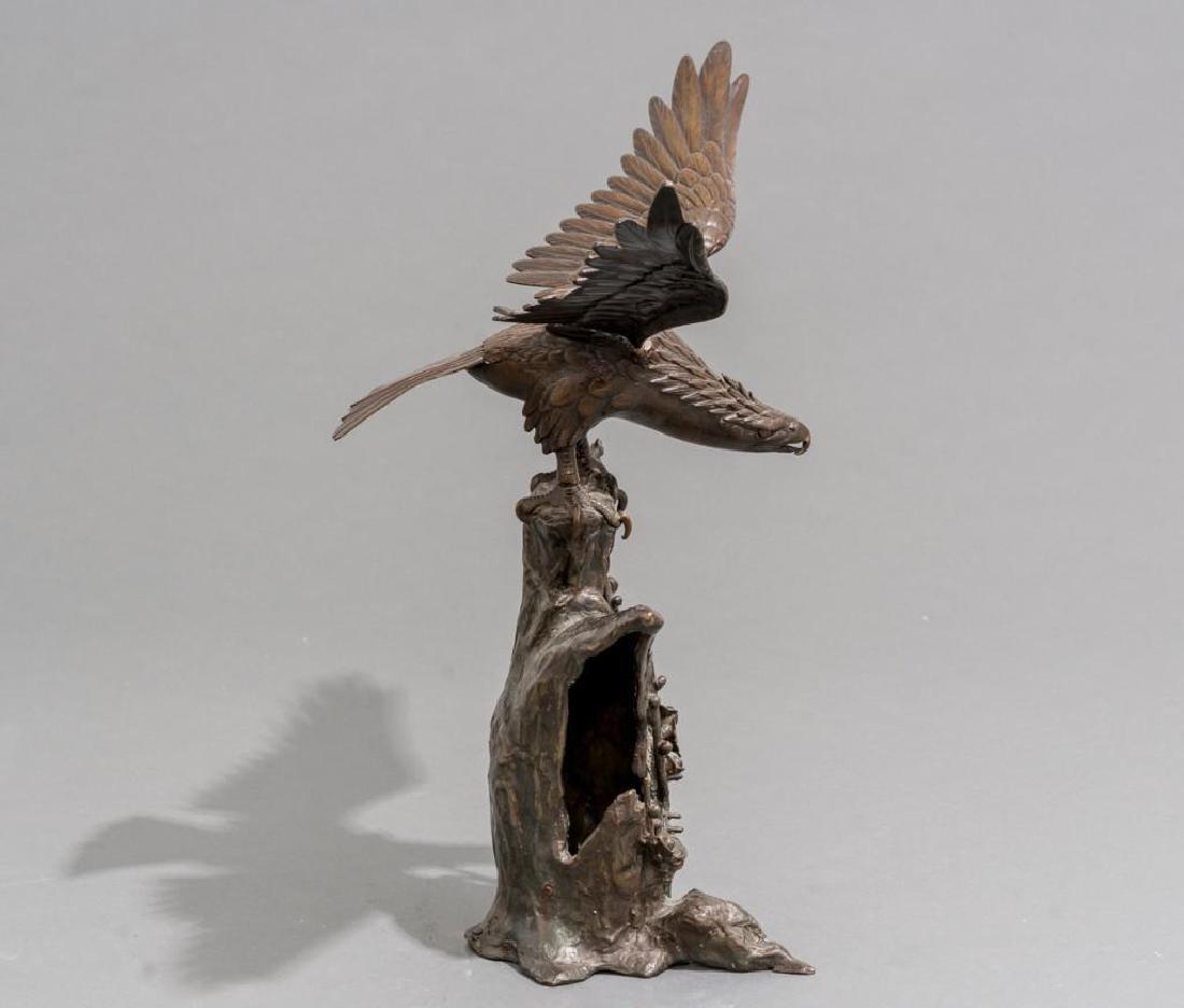 Japanese Bronze Eagle Sculpture Signed - 2