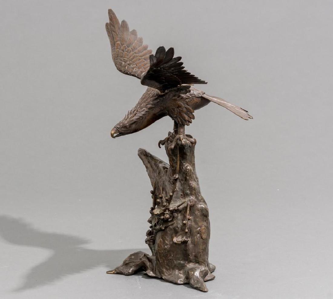 Japanese Bronze Eagle Sculpture Signed - 5