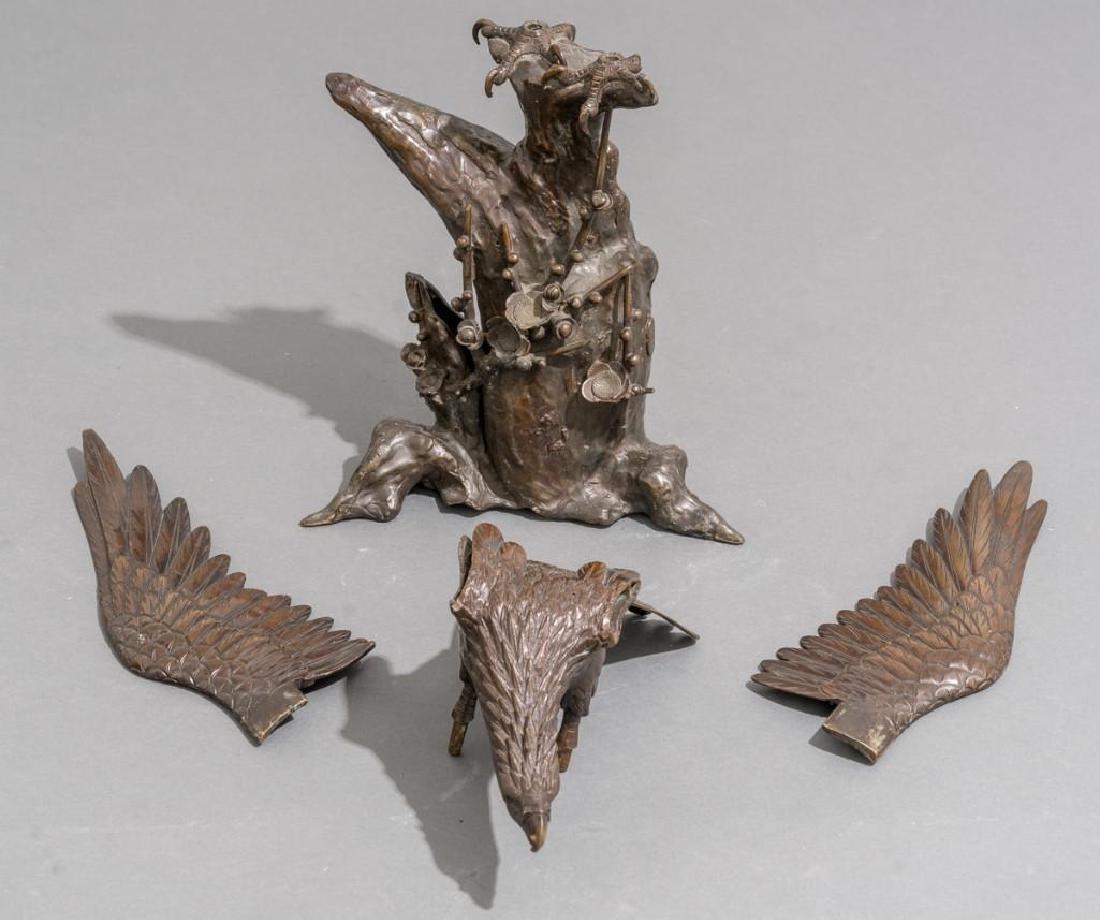 Japanese Bronze Eagle Sculpture Signed - 6