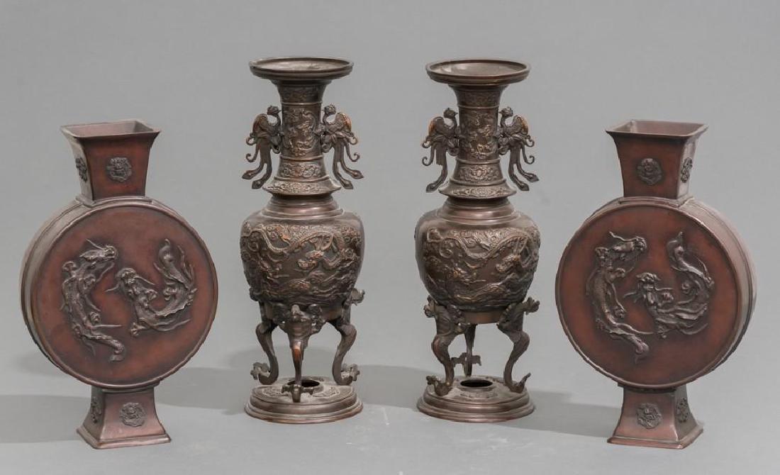 (4) Japanese Meiji Period Bronze Vases