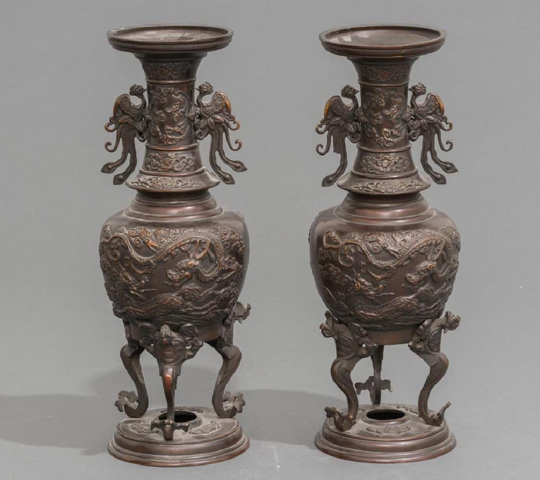 (4) Japanese Meiji Period Bronze Vases - 2