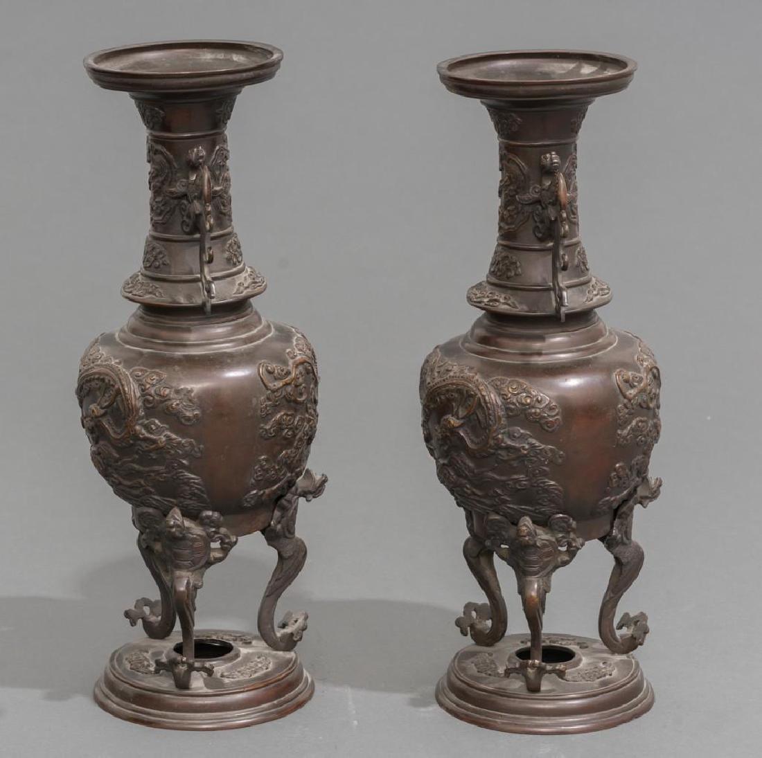 (4) Japanese Meiji Period Bronze Vases - 3