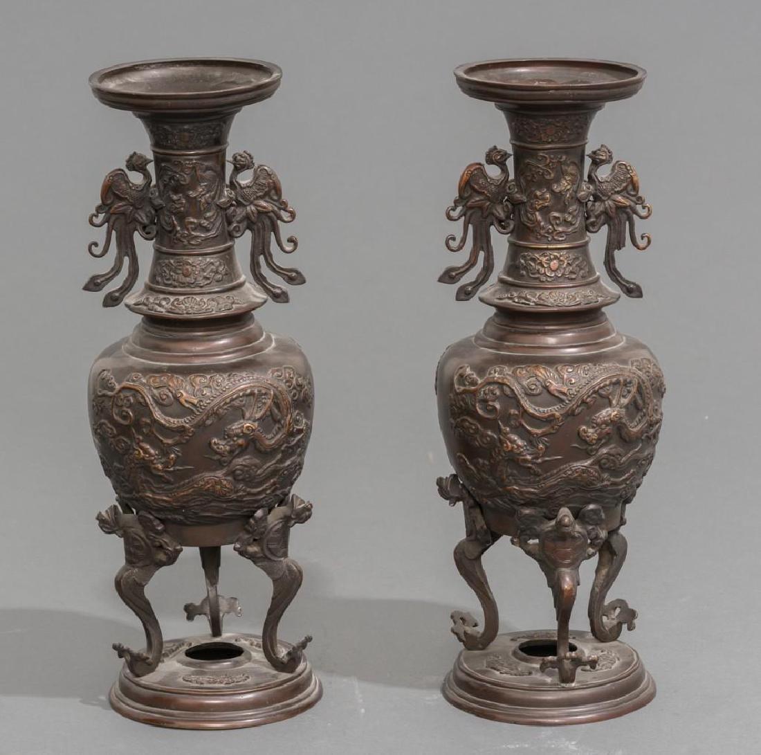 (4) Japanese Meiji Period Bronze Vases - 4