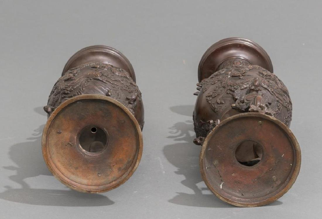 (4) Japanese Meiji Period Bronze Vases - 5