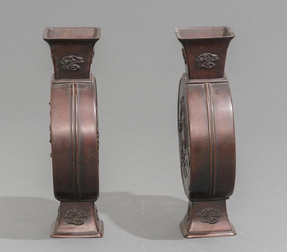 (4) Japanese Meiji Period Bronze Vases - 7