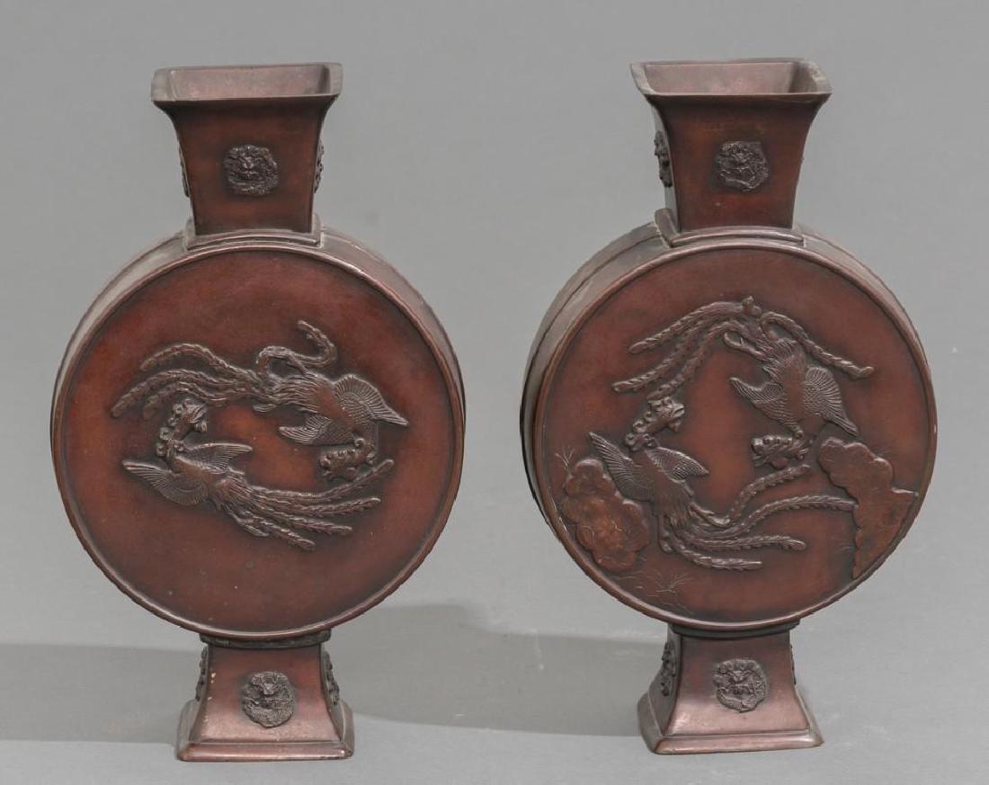 (4) Japanese Meiji Period Bronze Vases - 8