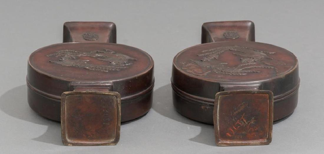 (4) Japanese Meiji Period Bronze Vases - 9