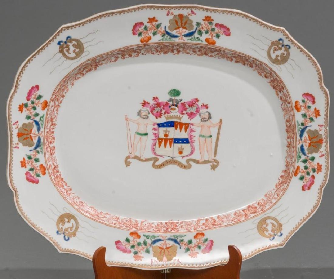 Pair of Chinese Export Armorial Porcelain Platters - 3