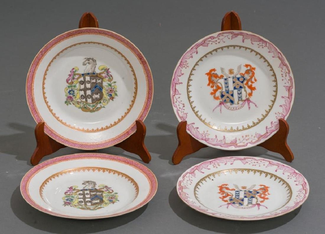 (4) Chinese Export Armorial Porcelain Dishes