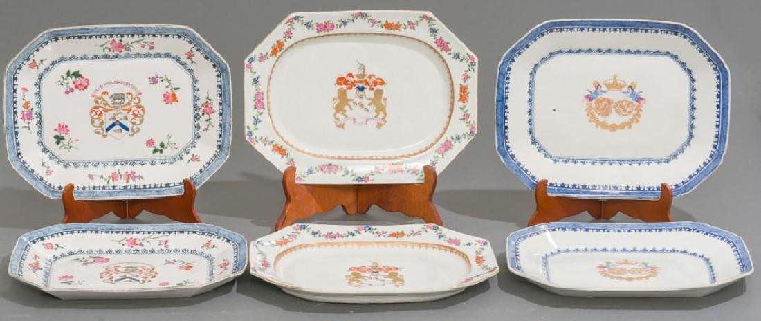 (6) Chinese Export Armorial Porcelain Platters