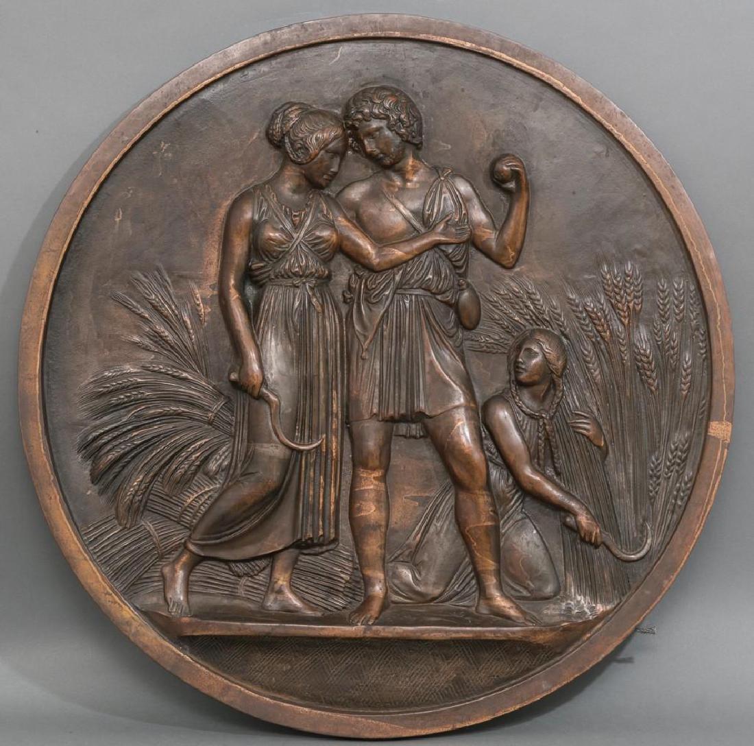 Antique Bronze Allegorical Plaque