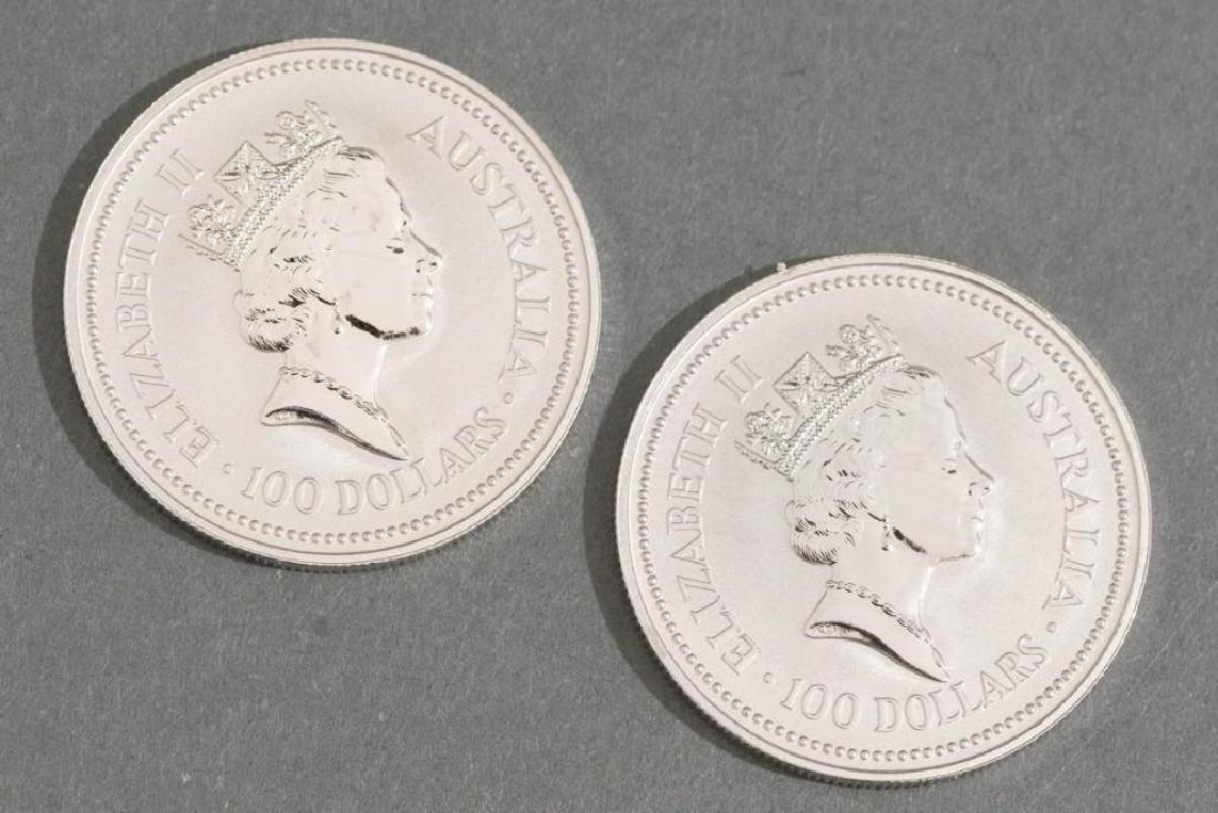 (2) 1991 Australia Koala Platinum-100 1-oz Coins