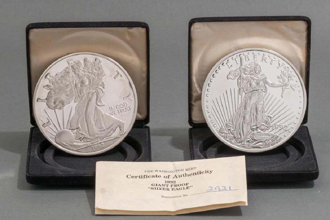 (2) Giant Proof Silver Eagle Coins .999 Silver 48 OZT