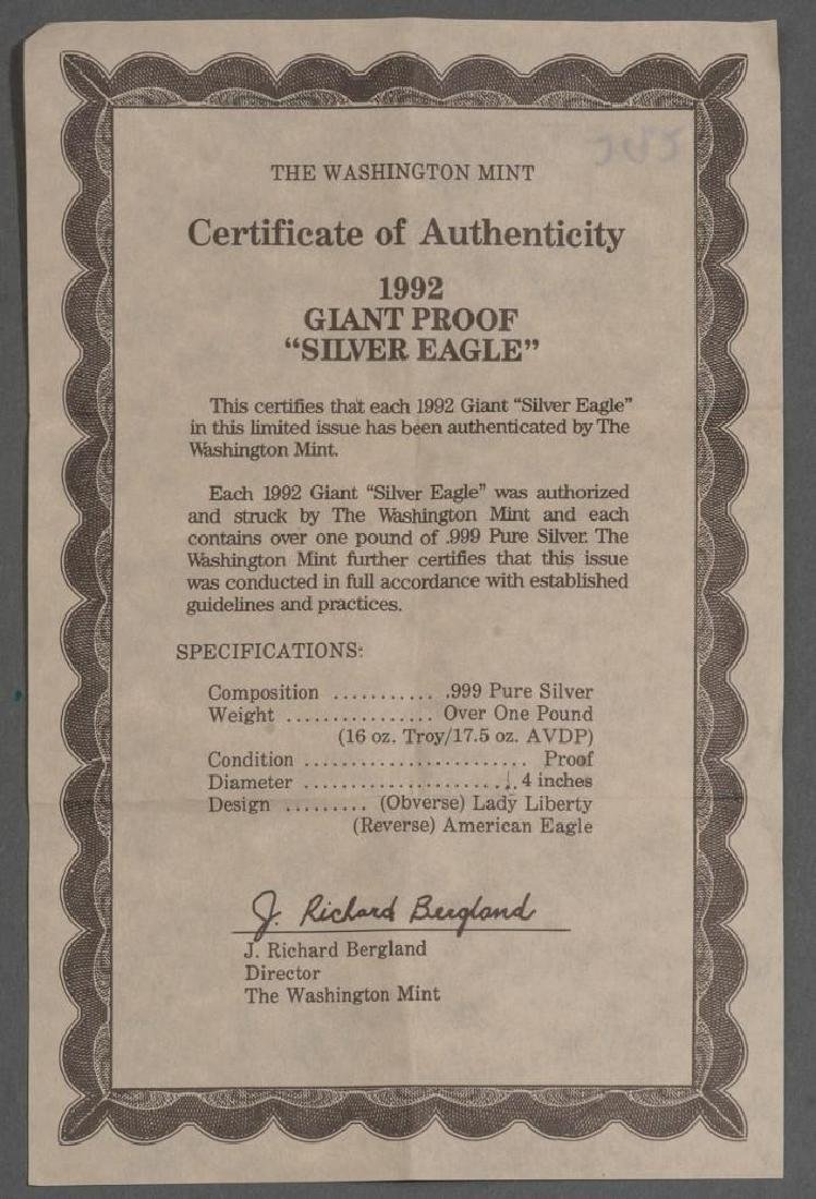 (2) Giant Proof Silver Eagle Coins .999 Silver 48 OZT - 4