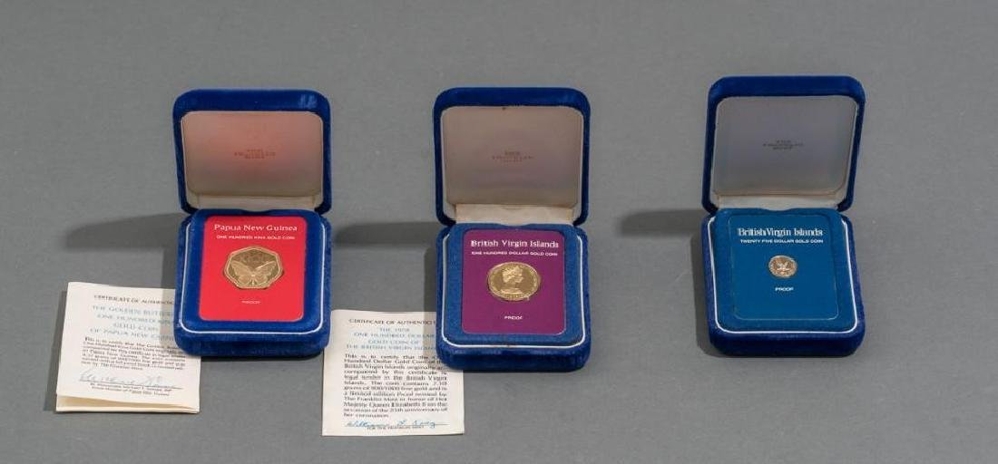 3-Piece Collection of Franklin Mint Gold Proof Coins