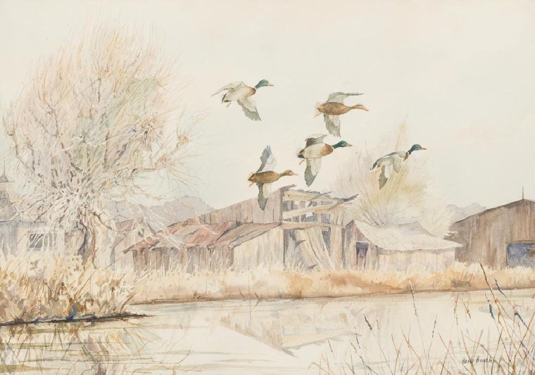 Herb Booth (1942-2014), Mallards Coming In, watercolor,