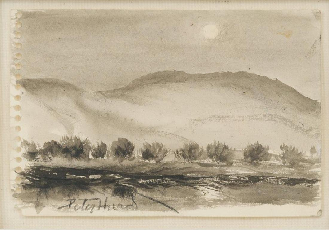 """Peter Hurd (1904-1984), """"Valley Moon"""", ink and wash"""