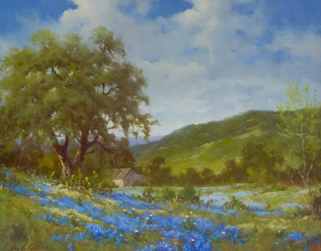 Gary Lynn Roberts (b. 1953), Texas Bluebonnets, oil