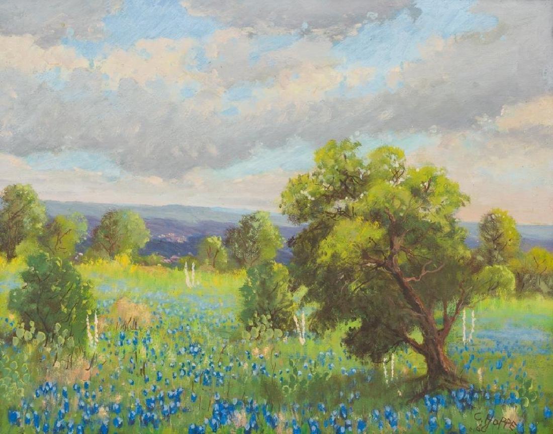 Carl Hoppe (1897-1981), Bluebonnets, 1960, oil
