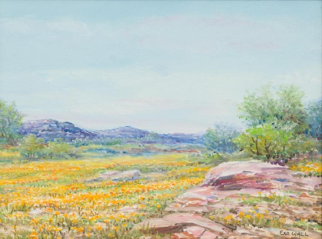 "Exa Wall (1897-1972), ""Gold on Pink Granite Hills"", oil"
