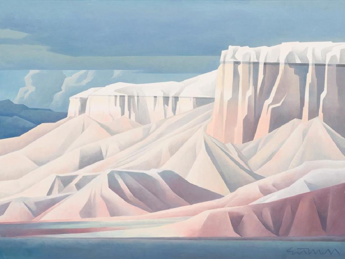 """Ed Mell (b. 1942), """"Pink Bluffs"""", 1986, oil on canvas,"""