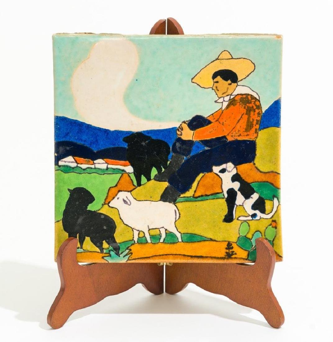 "San Jose Pottery, ""Sheep Herder"" tile, c. 1936, 8"""