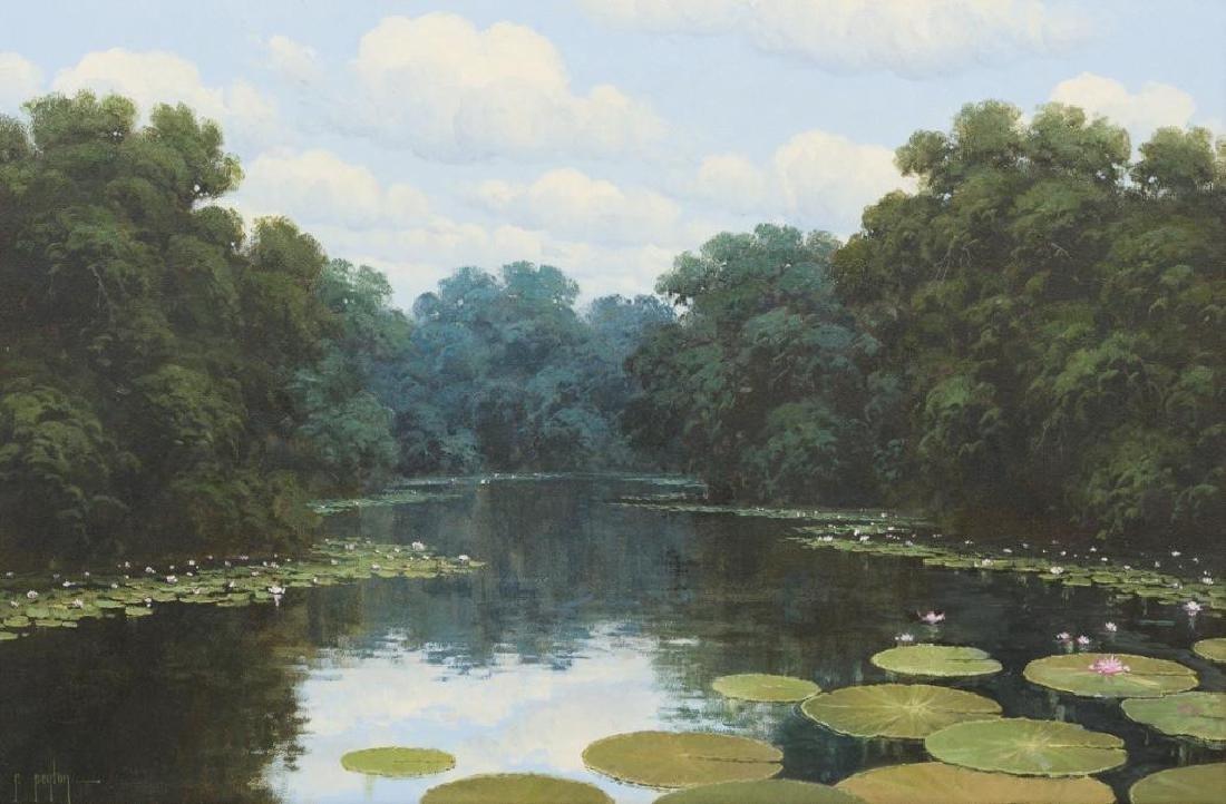 """Randy Peyton (b. 1958), """"Lilies in Bloom"""", 1989, oil"""