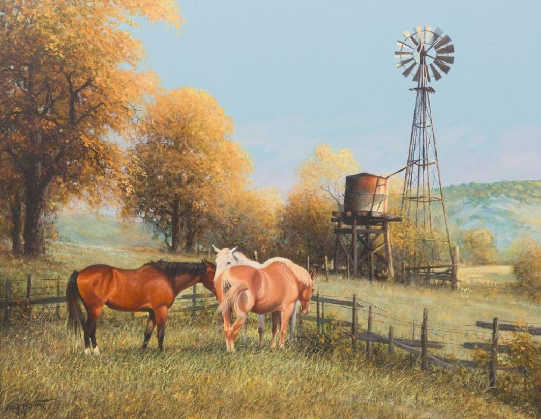 Jack Bryant (1929-2012), Country Corral, oil on canvas,