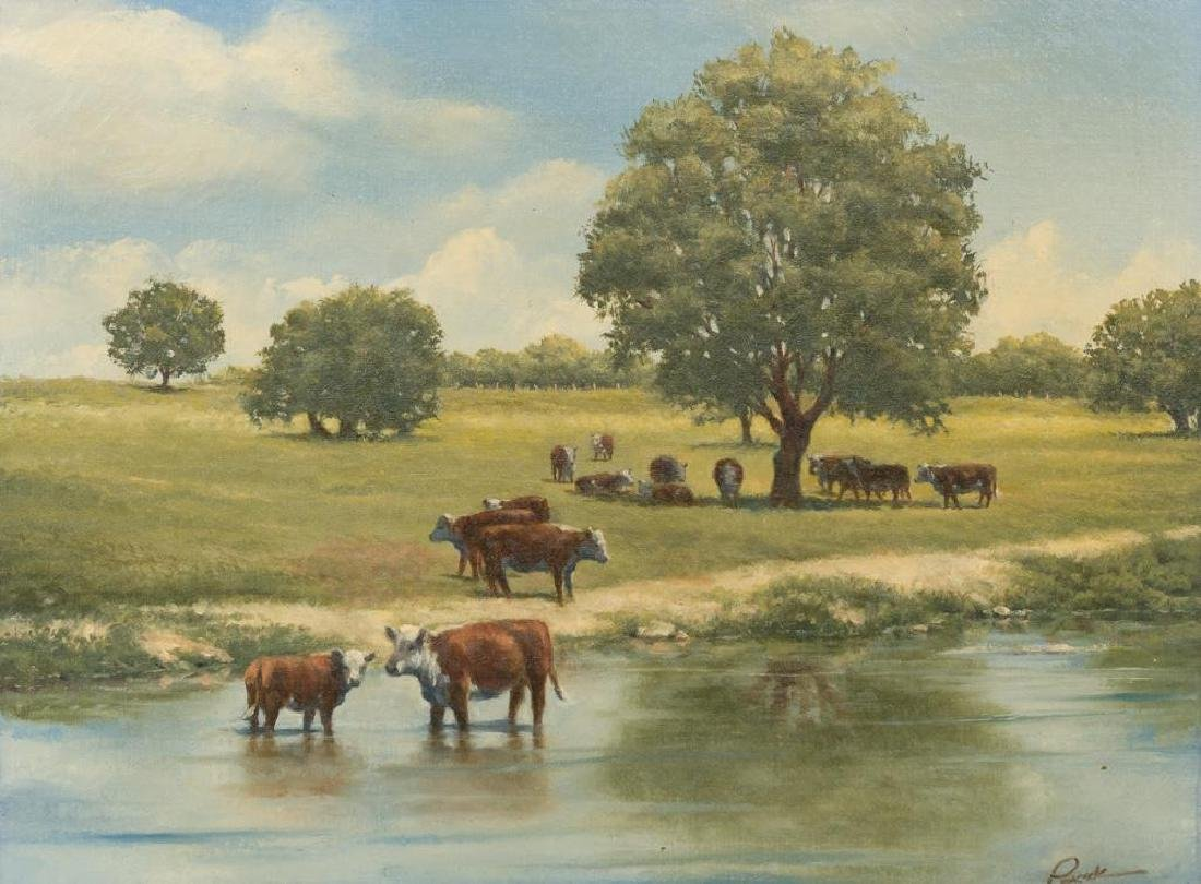 Joe Peacock, Cattle at Pasture, oil on canvas, 18 x 24""