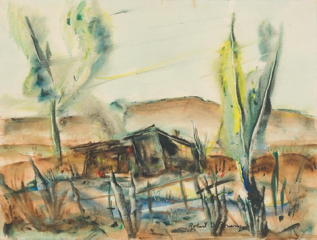 Robert D. Frary, Modernist Landscape, 1967, watercolor,