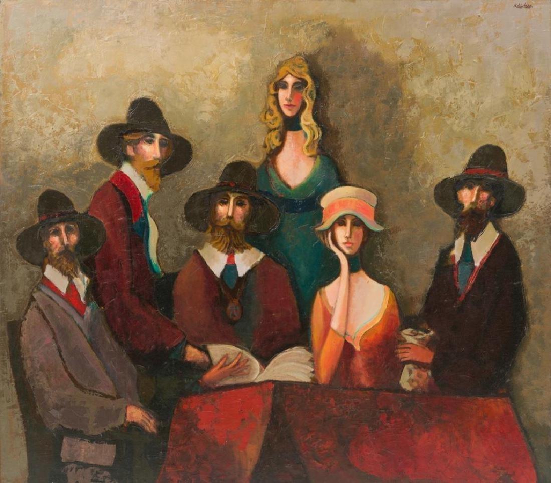 David Adickes (b. 1927), A Gathering of Friends, oil