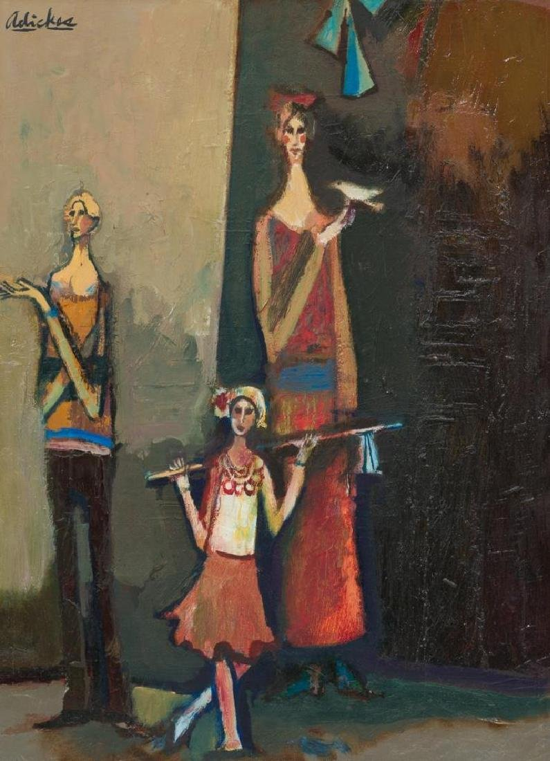 David Adickes (b. 1927), Family, oil on canvasboard