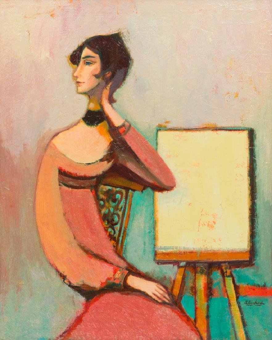 David Adickes (b. 1927), Woman at Easel, oil on canvas,