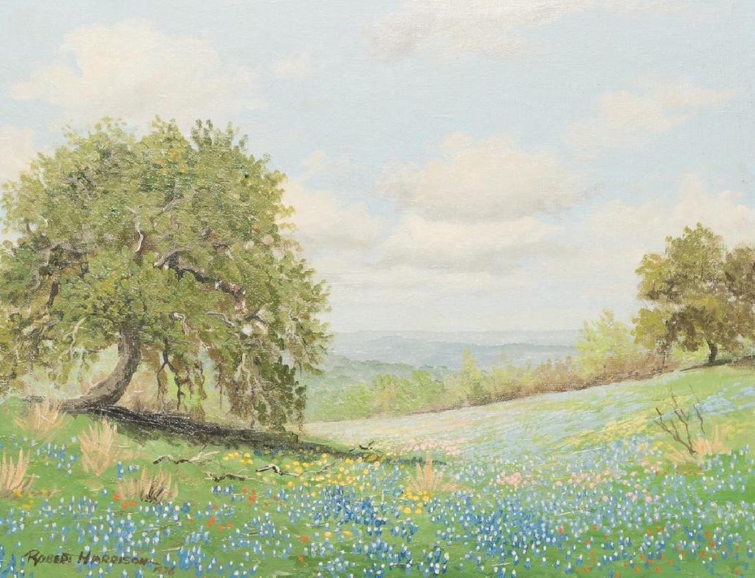 Robert Harrison, Bluebonnets, oil on canvasboard