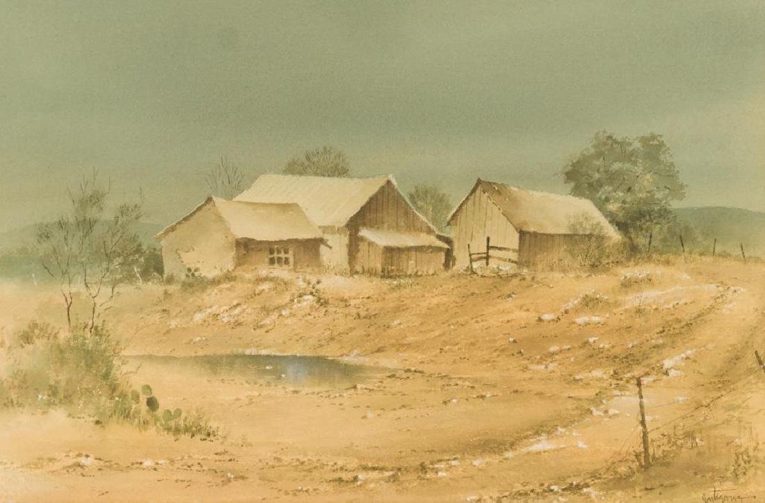 Raul Gutierrez (b. 1935), Texas Homestead, watercolor,