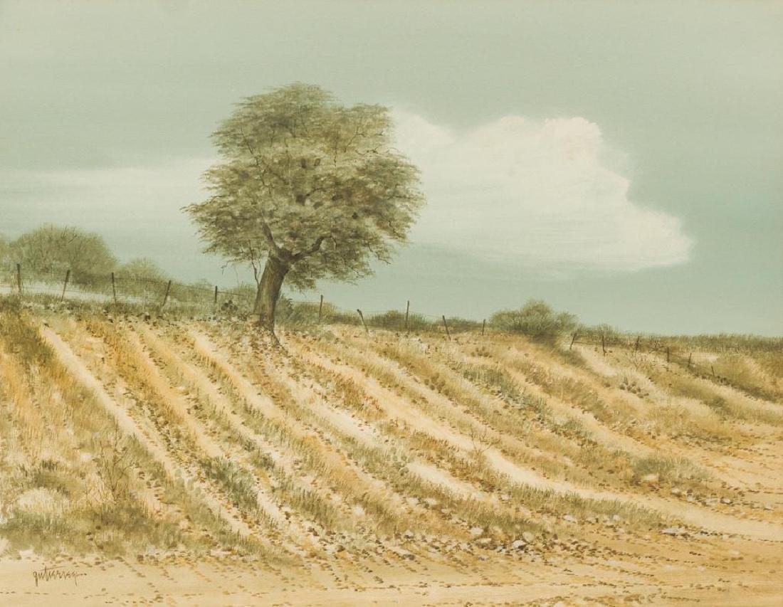 Raul Gutierrez (b. 1935), Lone Tree, watercolor