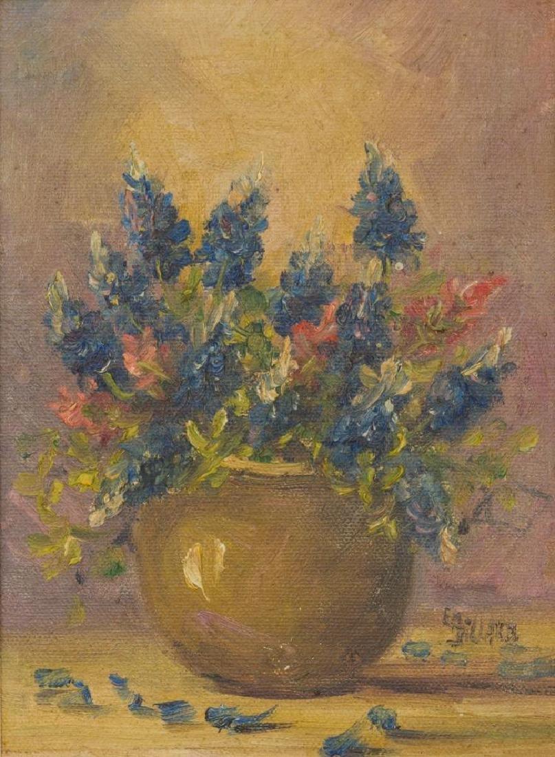 Emily Dillard (1879-1968), Bluebonnet Still Life, oil