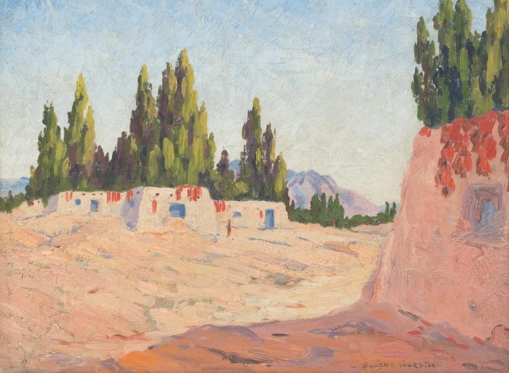 Eugene Thurston (1896-1993), Adobe Village, oil/board