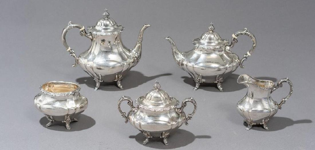 "Reed & Barton, ""Georgian Rose"" 5-piece Sterling Tea Set"