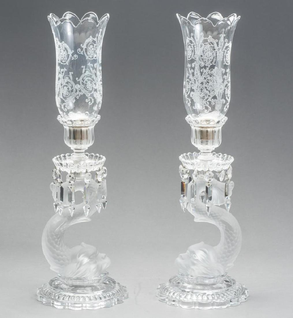 Baccarat, French Dolphin Form Candle Holders