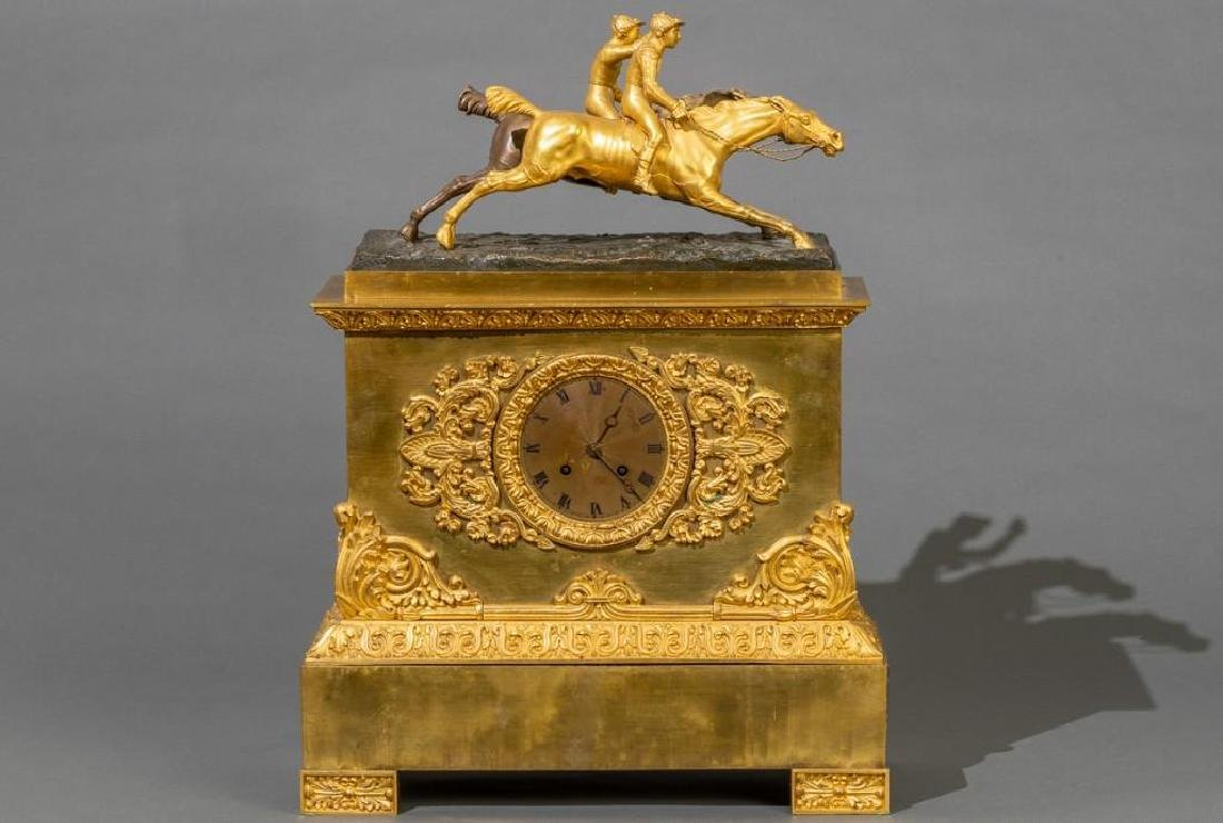French Bronze Mantle Clock Race Horses