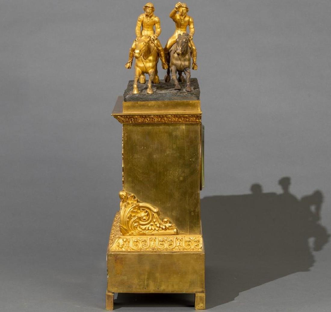 French Bronze Mantle Clock Race Horses - 2