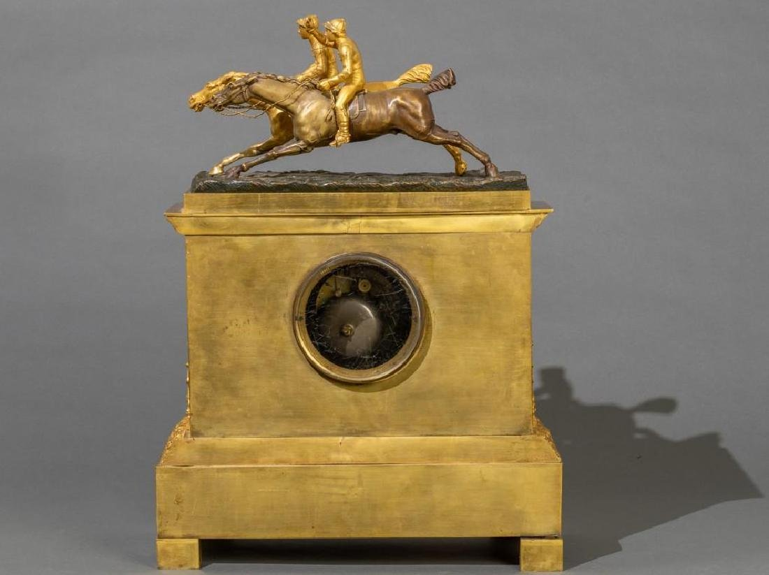 French Bronze Mantle Clock Race Horses - 3